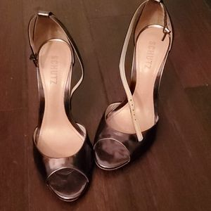 Schutz bronze metallic heels